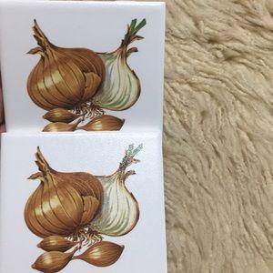 Onion Tile plaque coasters hot plate
